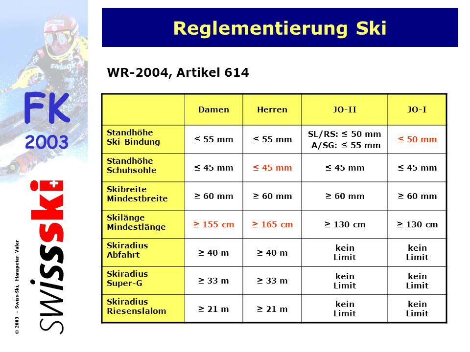 FK 2003 © 2003 – Swiss-Ski, Hanspeter Valer Reglementierung Ski DamenHerrenJO-IIJO-I Standhöhe Ski-Bindung 55 mm SL/RS: 50 mm A/SG: 55 mm 50 mm Standh