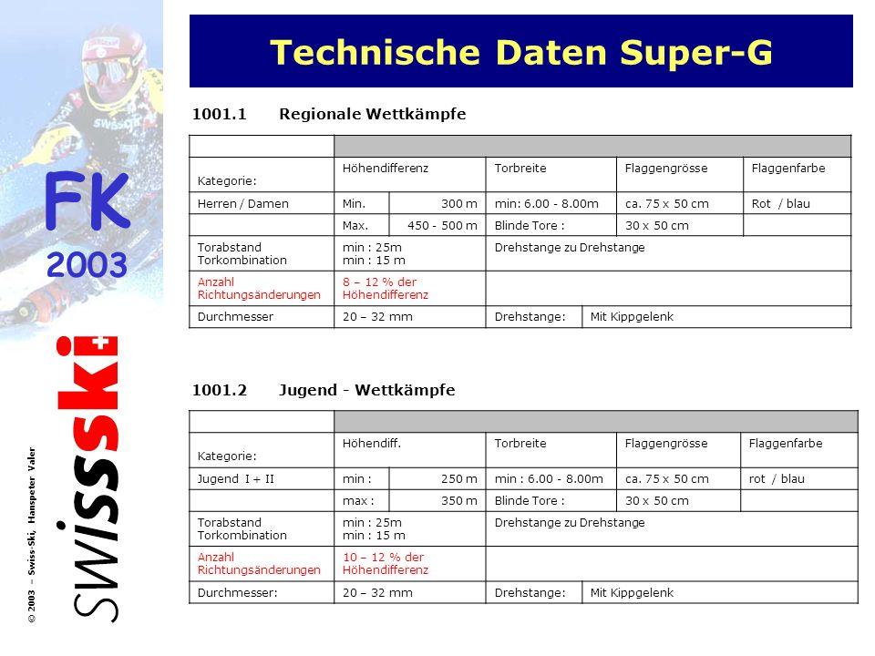 FK 2003 © 2003 – Swiss-Ski, Hanspeter Valer Technische Daten Super-G 1001.1Regionale Wettkämpfe Kategorie: HöhendifferenzTorbreiteFlaggengrösseFlaggen