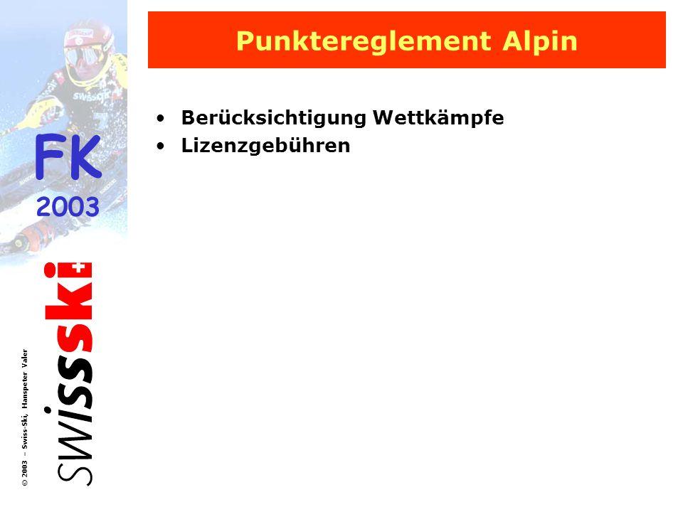 FK 2003 © 2003 – Swiss-Ski, Hanspeter Valer Punktereglement Alpin Berücksichtigung Wettkämpfe Lizenzgebühren