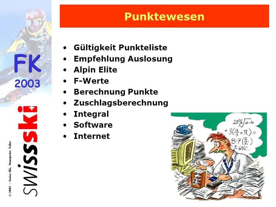 FK 2003 © 2003 – Swiss-Ski, Hanspeter Valer Punktewesen Gültigkeit Punkteliste Empfehlung Auslosung Alpin Elite F-Werte Berechnung Punkte Zuschlagsber