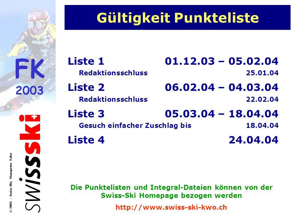 FK 2003 © 2003 – Swiss-Ski, Hanspeter Valer Gültigkeit Punkteliste Liste 101.12.03 – 05.02.04 Redaktionsschluss25.01.04 Liste 206.02.04 – 04.03.04 Red