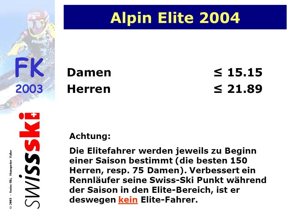 FK 2003 © 2003 – Swiss-Ski, Hanspeter Valer Alpin Elite 2004 Damen 15.15 Herren 21.89 Achtung: Die Elitefahrer werden jeweils zu Beginn einer Saison b