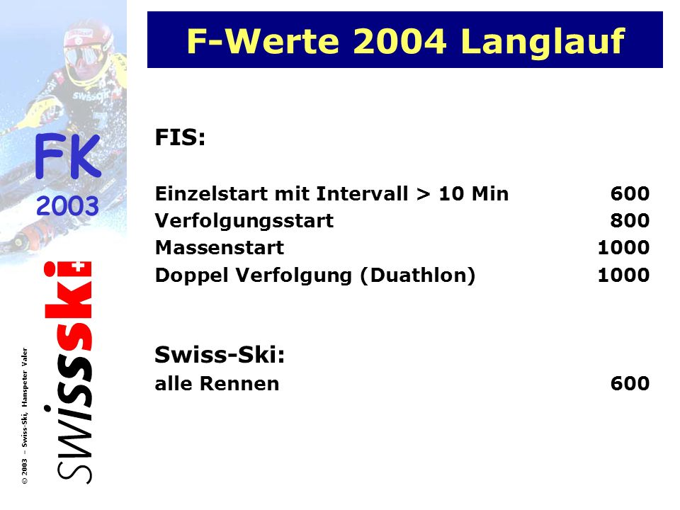 FK 2003 © 2003 – Swiss-Ski, Hanspeter Valer F-Werte 2004 Langlauf FIS: Einzelstart mit Intervall > 10 Min600 Verfolgungsstart800 Massenstart1000 Doppe