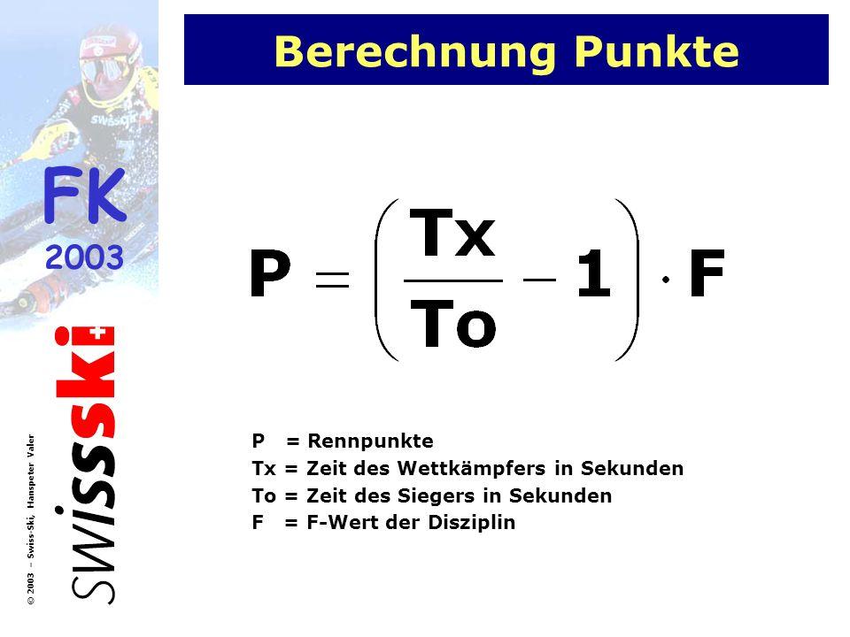 FK 2003 © 2003 – Swiss-Ski, Hanspeter Valer Berechnung Punkte P = Rennpunkte Tx = Zeit des Wettkämpfers in Sekunden To = Zeit des Siegers in Sekunden