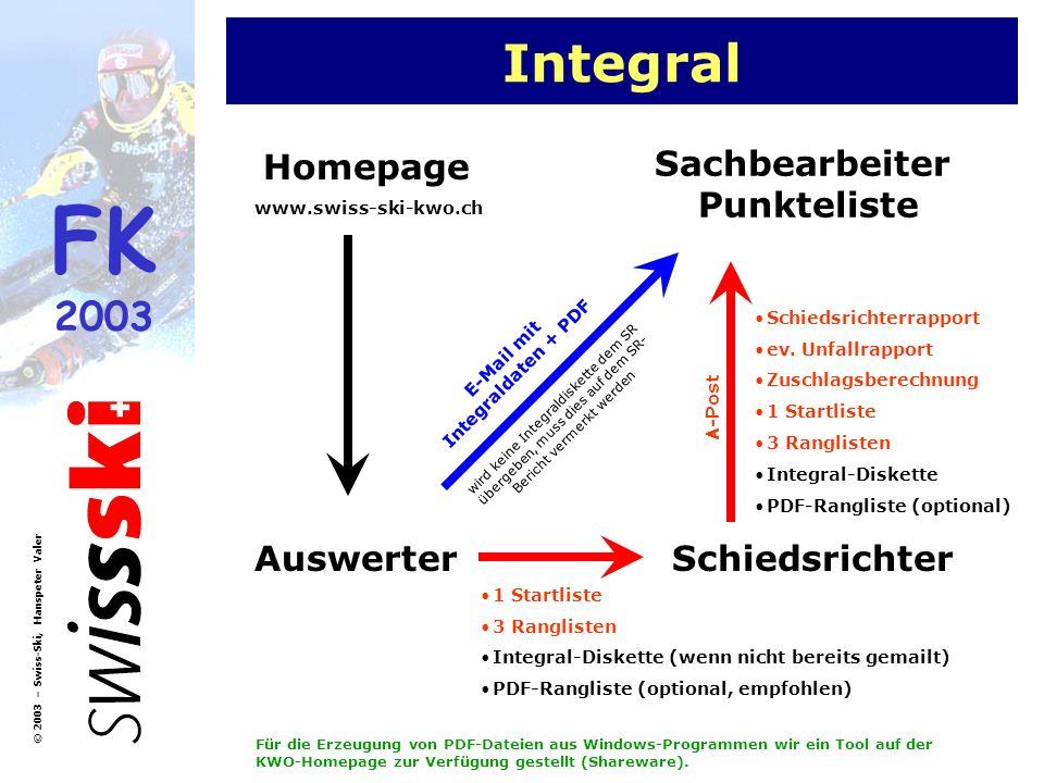 FK 2003 © 2003 – Swiss-Ski, Hanspeter Valer Integral Homepage AuswerterSchiedsrichter Sachbearbeiter Punkteliste www.swiss-ski-kwo.ch Schiedsrichterra