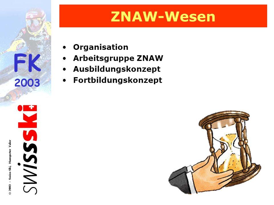FK 2003 © 2003 – Swiss-Ski, Hanspeter Valer ZNAW-Wesen Organisation Arbeitsgruppe ZNAW Ausbildungskonzept Fortbildungskonzept