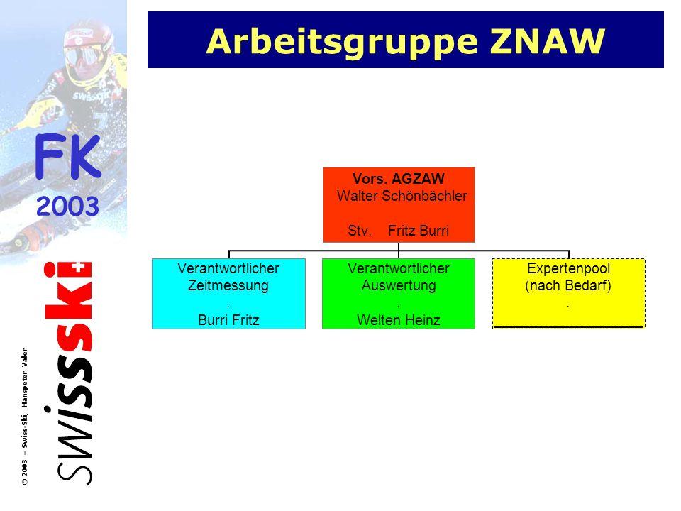 FK 2003 © 2003 – Swiss-Ski, Hanspeter Valer Arbeitsgruppe ZNAW Vors. AGZAW Walter Schönbächler Stv. Fritz Burri Verantwortlicher Zeitmessung. Burri Fr