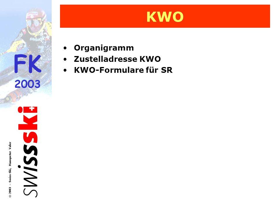 FK 2003 © 2003 – Swiss-Ski, Hanspeter Valer KWO Organigramm Zustelladresse KWO KWO-Formulare für SR