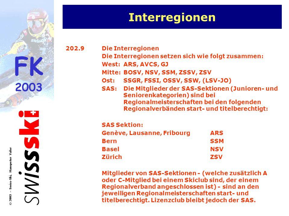 FK 2003 © 2003 – Swiss-Ski, Hanspeter Valer Haftpflichtversicherung SR 10.Rechte des Schiedsrichters 10.1Haftpflichtversicherung Swiss-Ski schliesst für die Schiedsrichter eine Haftpflichtversicherung in der Höhe von Fr.
