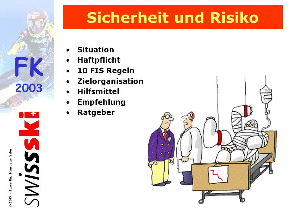 FK 2003 © 2003 – Swiss-Ski, Hanspeter Valer Sicherheit und Risiko Situation Haftpflicht 10 FIS Regeln Zielorganisation Hilfsmittel Empfehlung Ratgeber