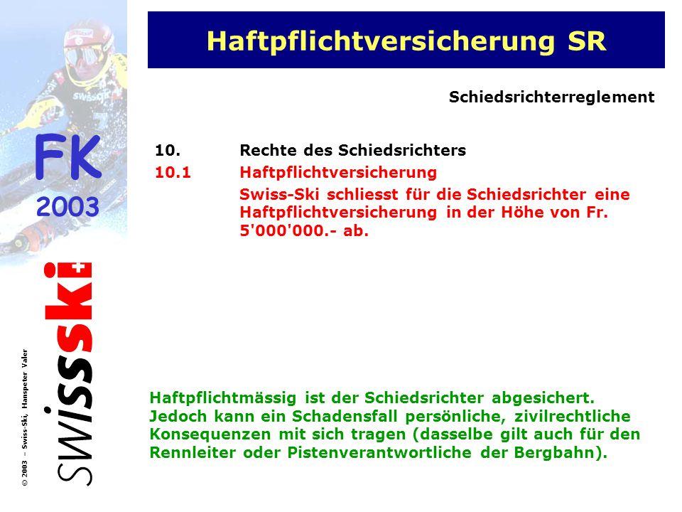 FK 2003 © 2003 – Swiss-Ski, Hanspeter Valer Haftpflichtversicherung SR 10.Rechte des Schiedsrichters 10.1Haftpflichtversicherung Swiss-Ski schliesst f