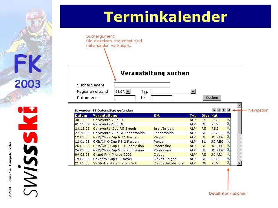FK 2003 © 2003 – Swiss-Ski, Hanspeter Valer Terminkalender Detailinformationen Navigation Suchargument: Die einzelnen Argument sind miteinander verknü