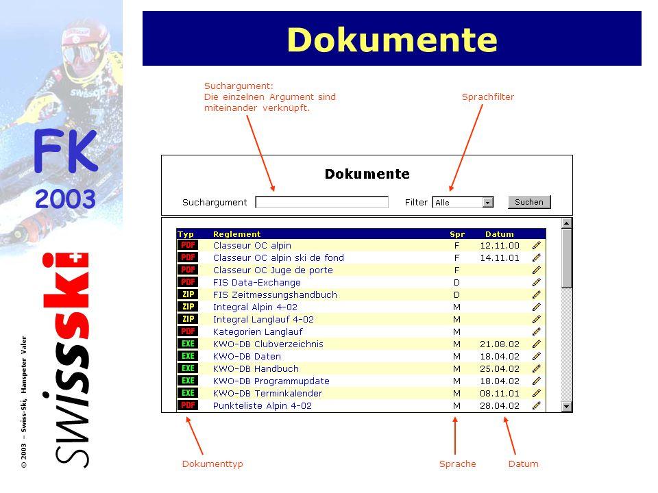 FK 2003 © 2003 – Swiss-Ski, Hanspeter Valer Dokumente Suchargument: Die einzelnen Argument sind miteinander verknüpft. DokumenttypSpracheDatum Sprachf
