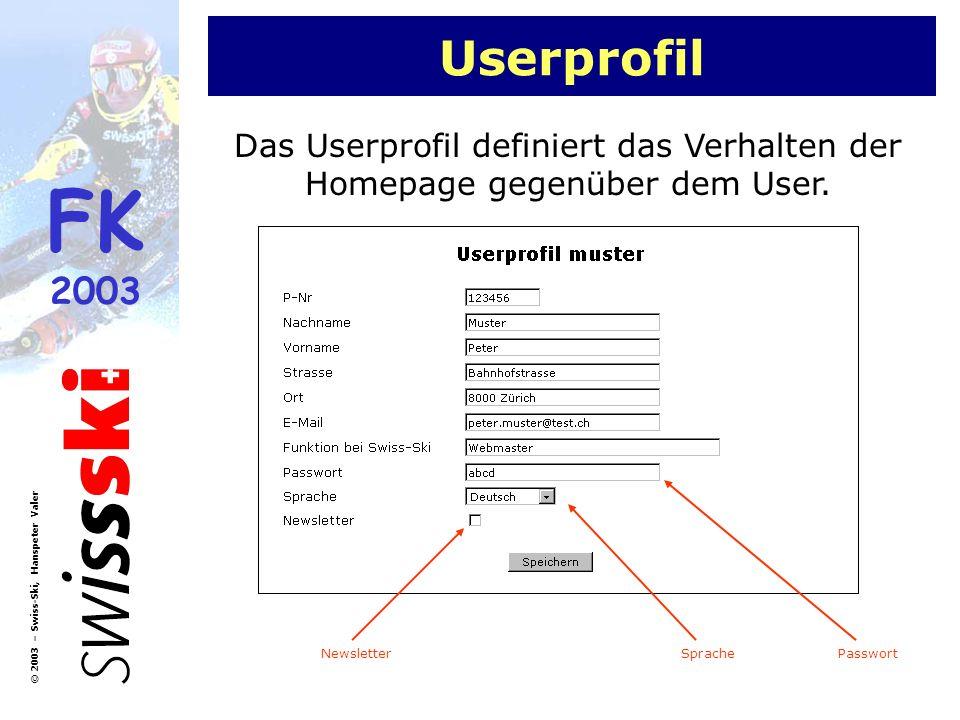 FK 2003 © 2003 – Swiss-Ski, Hanspeter Valer Userprofil Das Userprofil definiert das Verhalten der Homepage gegenüber dem User. SpracheNewsletterPasswo