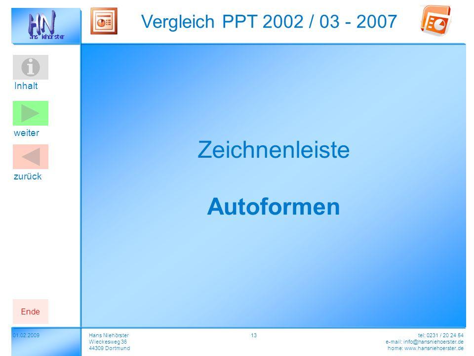 Inhalt 01.02.2009 Vergleich PPT 2002 / 03 - 2007 Hans Niehörster Wieckesweg 36 44309 Dortmund tel: 0231 / 20 24 54 e-mail: info@hansniehoerster.de home: www.hansniehoerster.de weiter Ende zurück 13 Zeichnenleiste Autoformen
