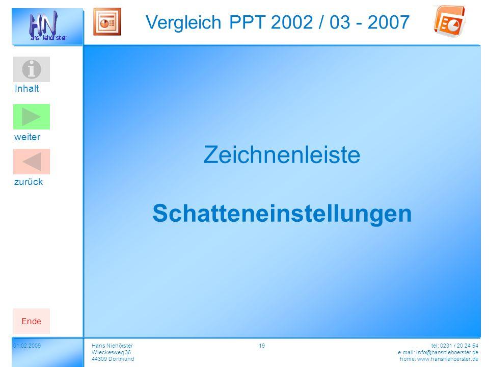 Inhalt 01.02.2009 Vergleich PPT 2002 / 03 - 2007 Hans Niehörster Wieckesweg 36 44309 Dortmund tel: 0231 / 20 24 54 e-mail: info@hansniehoerster.de home: www.hansniehoerster.de weiter Ende zurück 19 Zeichnenleiste Schatteneinstellungen