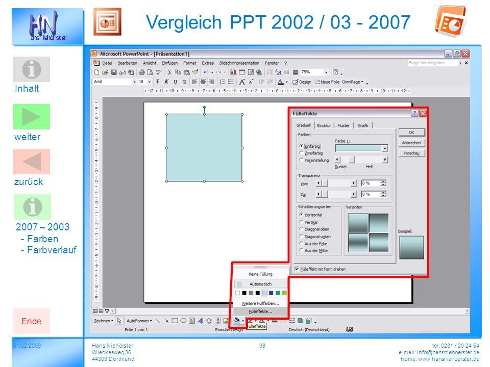 Inhalt 01.02.2009 Vergleich PPT 2002 / 03 - 2007 Hans Niehörster Wieckesweg 36 44309 Dortmund tel: 0231 / 20 24 54 e-mail: info@hansniehoerster.de hom