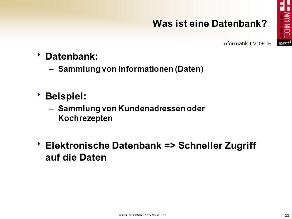 Informatik I VO+UE Dipl.Ing. Nicole Hertel I N F O R M A T I K I 11 Was ist eine Datenbank? Datenbank: –Sammlung von Informationen (Daten) Beispiel: –