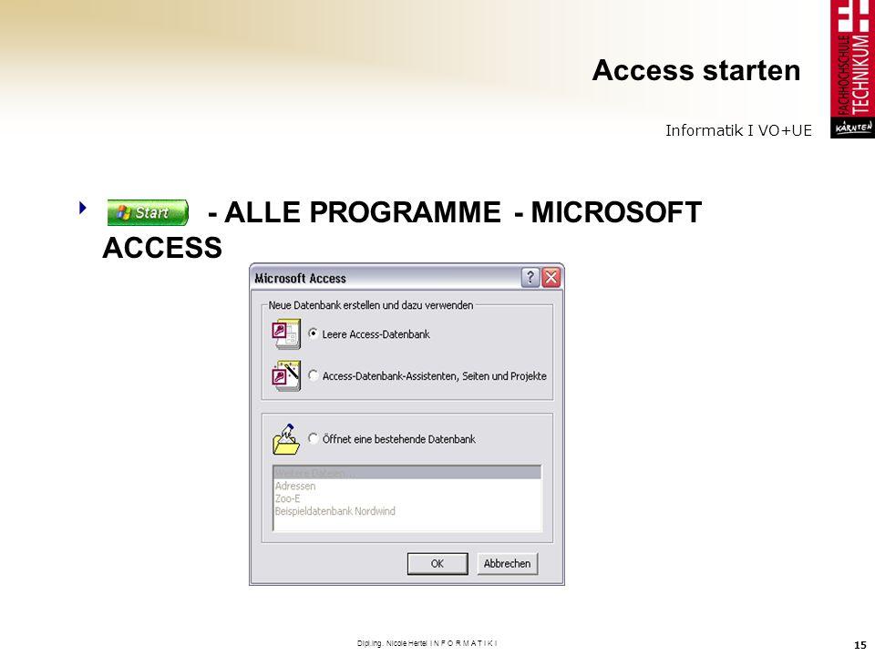 Informatik I VO+UE Dipl.Ing. Nicole Hertel I N F O R M A T I K I 15 Access starten - ALLE PROGRAMME - MICROSOFT ACCESS