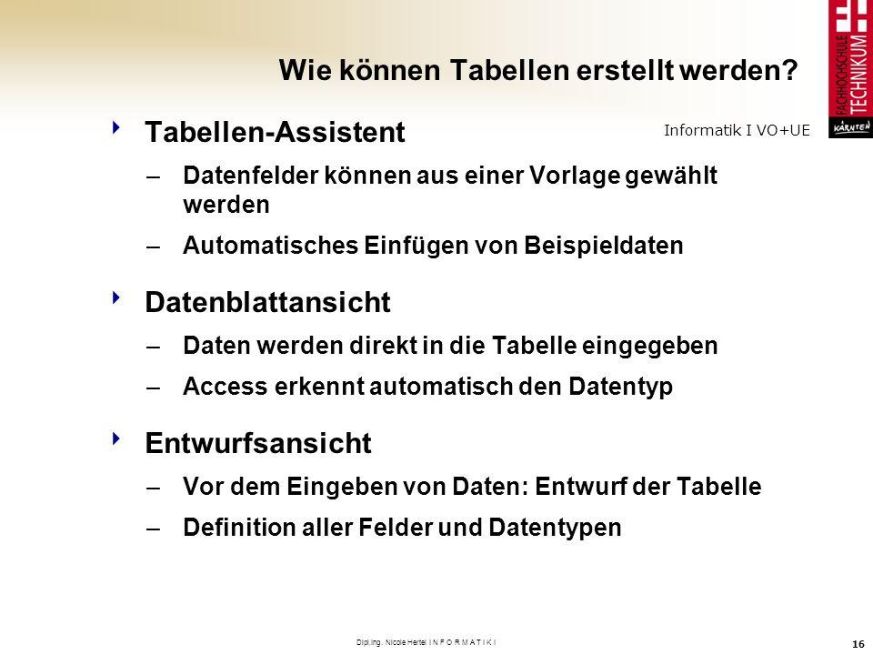 Informatik I VO+UE Dipl.Ing. Nicole Hertel I N F O R M A T I K I 16 Wie können Tabellen erstellt werden? Tabellen-Assistent –Datenfelder können aus ei