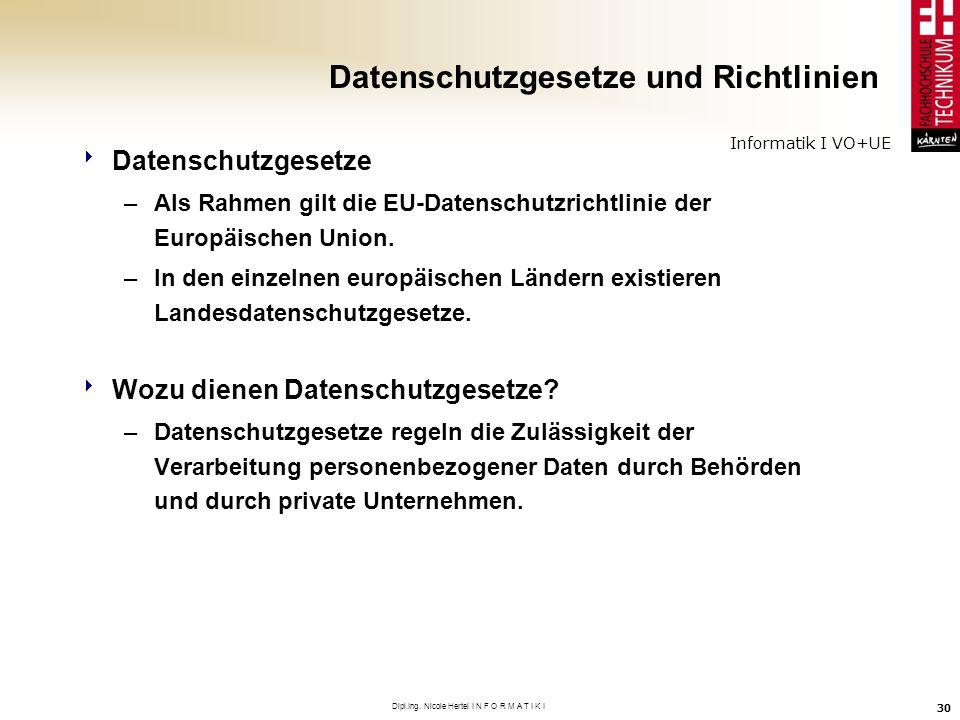 Informatik I VO+UE Dipl.Ing. Nicole Hertel I N F O R M A T I K I 30 Datenschutzgesetze und Richtlinien Datenschutzgesetze –Als Rahmen gilt die EU-Date