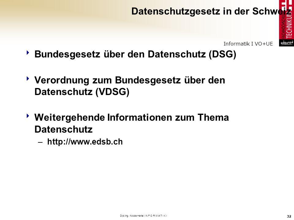 Informatik I VO+UE Dipl.Ing. Nicole Hertel I N F O R M A T I K I 32 Datenschutzgesetz in der Schweiz Bundesgesetz über den Datenschutz (DSG) Verordnun
