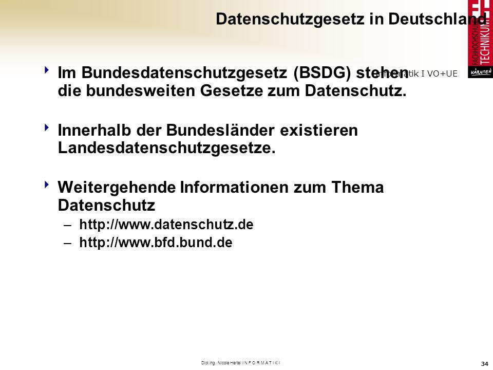 Informatik I VO+UE Dipl.Ing. Nicole Hertel I N F O R M A T I K I 34 Datenschutzgesetz in Deutschland Im Bundesdatenschutzgesetz (BSDG) stehen die bund
