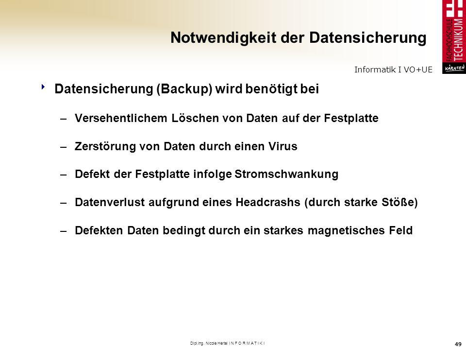 Informatik I VO+UE Dipl.Ing. Nicole Hertel I N F O R M A T I K I 49 Notwendigkeit der Datensicherung Datensicherung (Backup) wird benötigt bei –Verseh