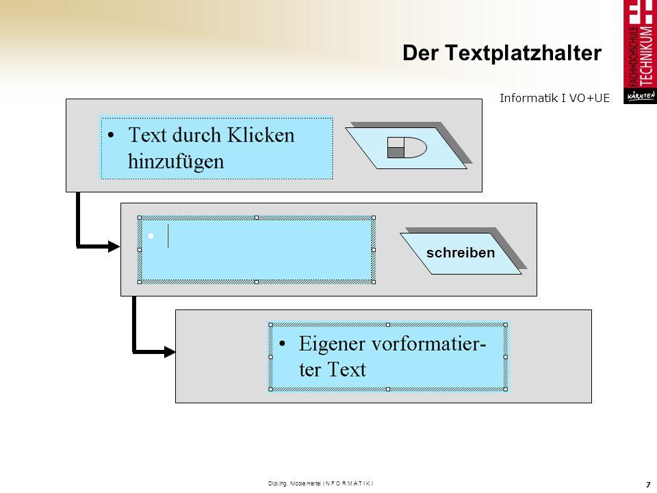 Informatik I VO+UE Dipl.Ing. Nicole Hertel I N F O R M A T I K I 7 Der Textplatzhalter schreiben