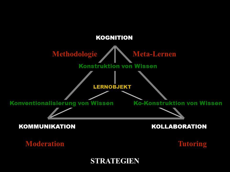 KOGNITION KOMMUNIKATIONKOLLABORATION Konstruktion von Wissen Konventionalisierung von WissenKo-Konstruktion von Wissen LERNOBJEKT MethodologieMeta-Lernen ModerationTutoring STRATEGIEN