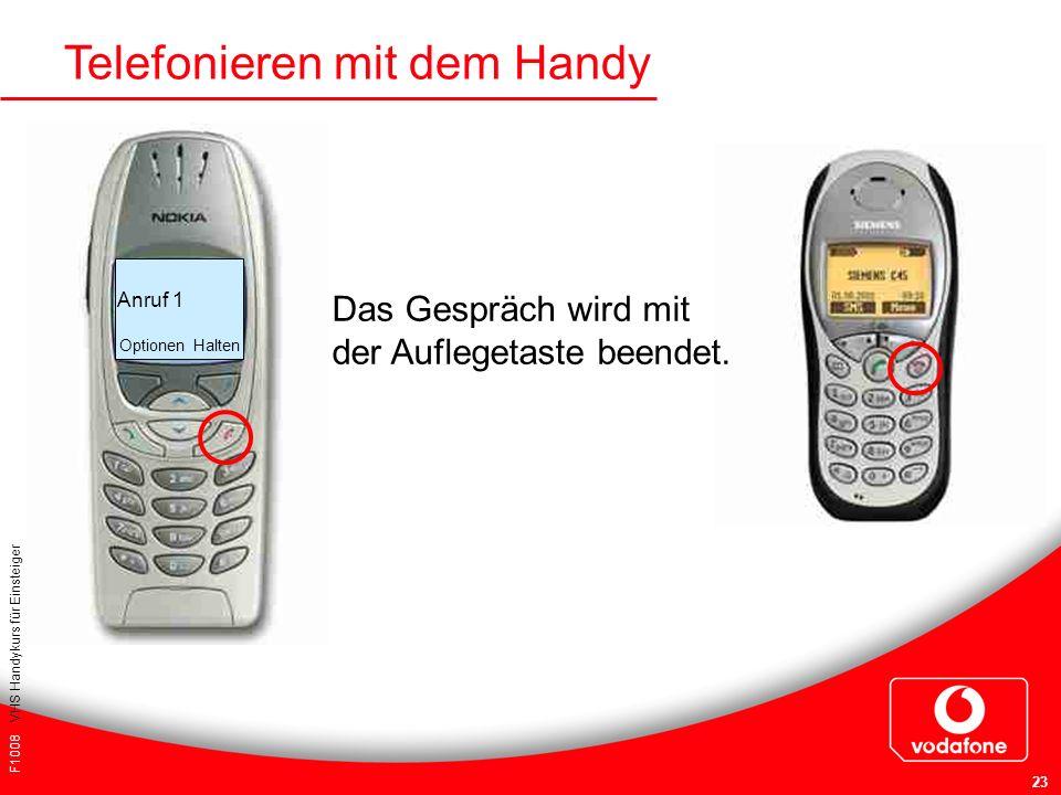F1008 VHS Handykurs für Einsteiger 23 Telefonieren mit dem Handy Anruf 1 Optionen Halten Das Gespräch wird mit der Auflegetaste beendet.