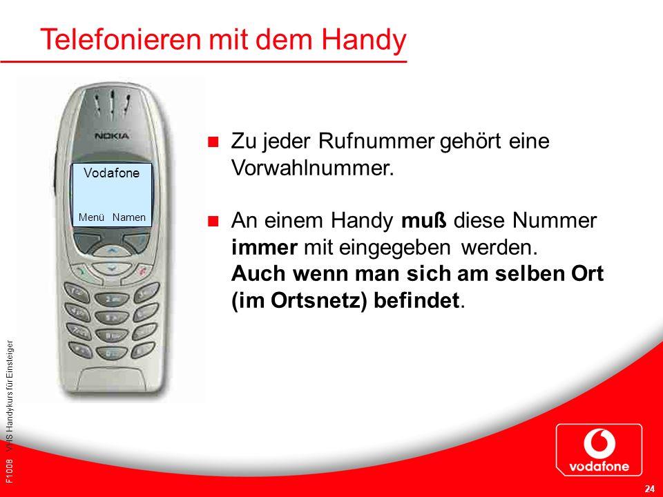 F1008 VHS Handykurs für Einsteiger 24 Telefonieren mit dem Handy Zu jeder Rufnummer gehört eine Vorwahlnummer. An einem Handy muß diese Nummer immer m