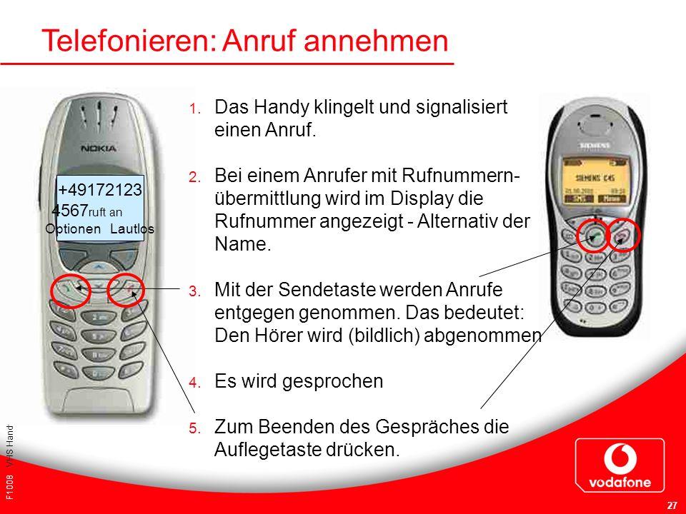 F1008 VHS Handykurs für Einsteiger 27 Telefonieren: Anruf annehmen 1. Das Handy klingelt und signalisiert einen Anruf. 2. Bei einem Anrufer mit Rufnum