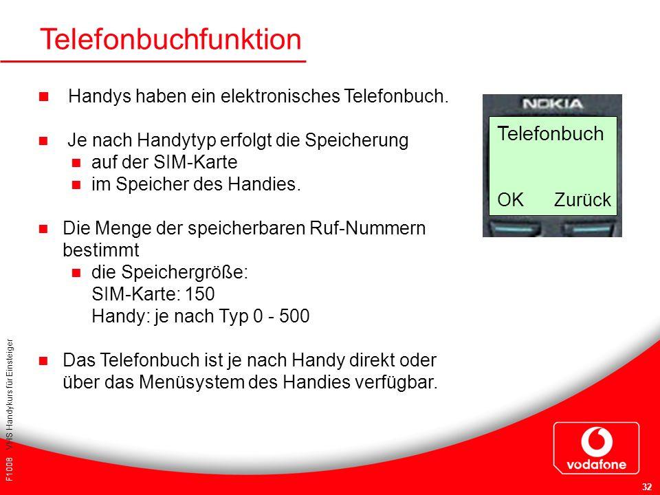 F1008 VHS Handykurs für Einsteiger 32 Telefonbuchfunktion Handys haben ein elektronisches Telefonbuch. Je nach Handytyp erfolgt die Speicherung auf de
