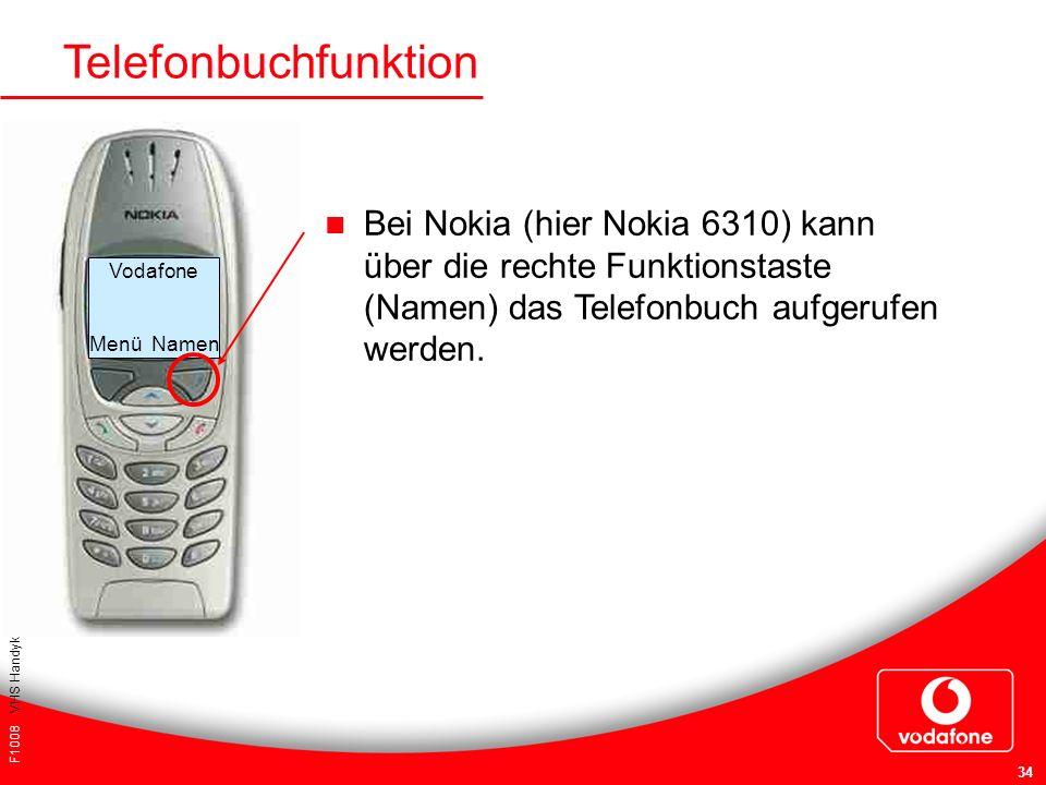 F1008 VHS Handykurs für Einsteiger 34 Telefonbuchfunktion Bei Nokia (hier Nokia 6310) kann über die rechte Funktionstaste (Namen) das Telefonbuch aufg