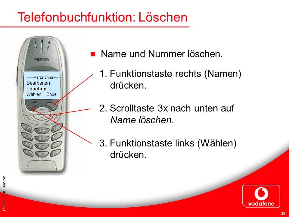 F1008 VHS Handykurs für Einsteiger 39 Telefonbuchfunktion: Löschen Name und Nummer löschen. 1. Funktionstaste rechts (Namen) drücken. 2. Scrolltaste 3