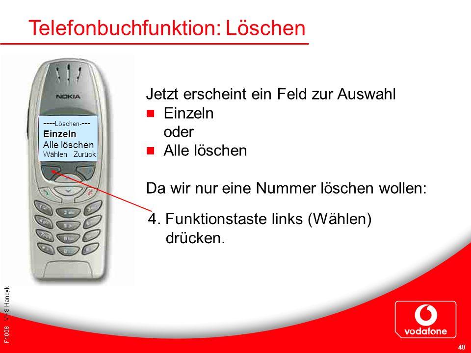 F1008 VHS Handykurs für Einsteiger 40 Telefonbuchfunktion: Löschen Jetzt erscheint ein Feld zur Auswahl Einzeln oder Alle löschen Da wir nur eine Numm