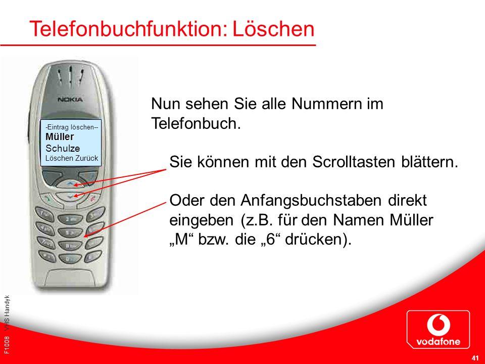 F1008 VHS Handykurs für Einsteiger 41 Sie können mit den Scrolltasten blättern. Oder den Anfangsbuchstaben direkt eingeben (z.B. für den Namen Müller