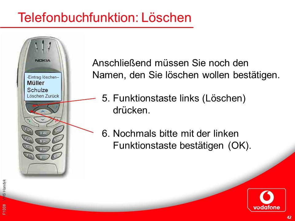 F1008 VHS Handykurs für Einsteiger 42 Telefonbuchfunktion: Löschen Anschließend müssen Sie noch den Namen, den Sie löschen wollen bestätigen. 5. Funkt