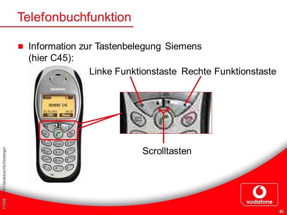 F1008 VHS Handykurs für Einsteiger 45 Telefonbuchfunktion Information zur Tastenbelegung Siemens (hier C45): Linke FunktionstasteRechte Funktionstaste
