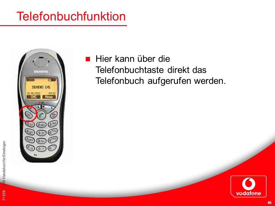 F1008 VHS Handykurs für Einsteiger 46 Telefonbuchfunktion Hier kann über die Telefonbuchtaste direkt das Telefonbuch aufgerufen werden.