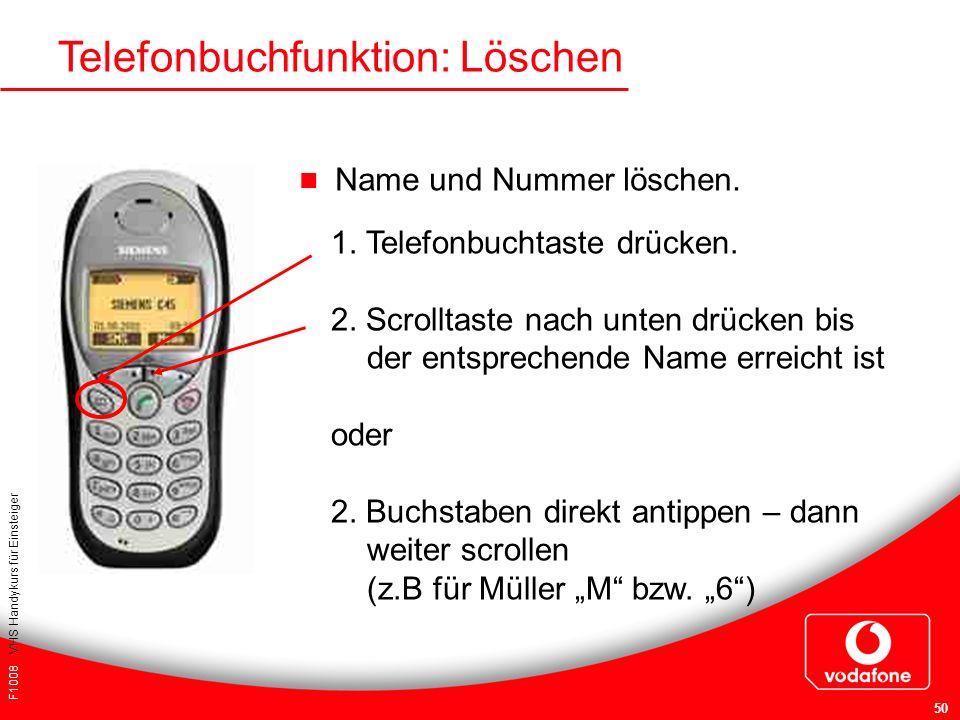 F1008 VHS Handykurs für Einsteiger 50 Telefonbuchfunktion: Löschen Name und Nummer löschen. 1. Telefonbuchtaste drücken. 2. Scrolltaste nach unten drü