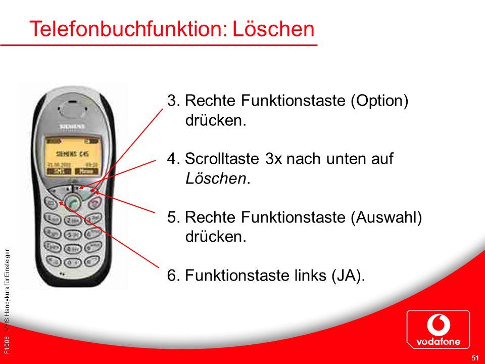 F1008 VHS Handykurs für Einsteiger 51 Telefonbuchfunktion: Löschen 3. Rechte Funktionstaste (Option) drücken. 4. Scrolltaste 3x nach unten auf Löschen