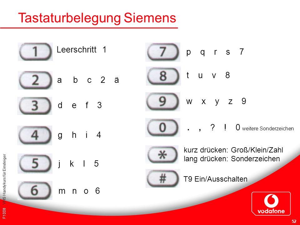 F1008 VHS Handykurs für Einsteiger 52 Tastaturbelegung Siemens Leerschritt 1 a b c 2 ä d e f 3 g h i 4 j k l 5 m n o 6., ? ! 0 weitere Sonderzeichen T