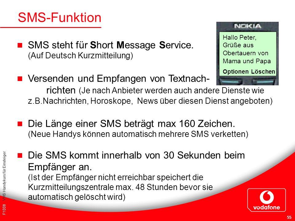 F1008 VHS Handykurs für Einsteiger 55 SMS-Funktion SMS steht für Short Message Service. (Auf Deutsch Kurzmitteilung) Versenden und Empfangen von Textn