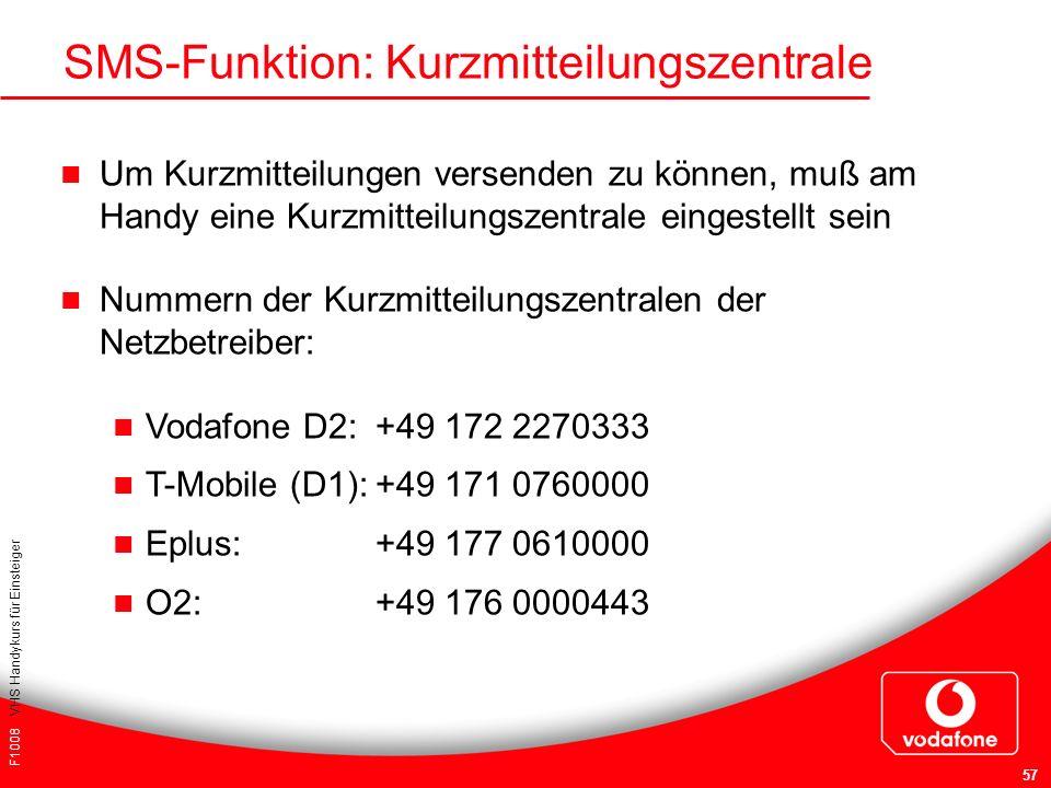 F1008 VHS Handykurs für Einsteiger 57 SMS-Funktion: Kurzmitteilungszentrale Um Kurzmitteilungen versenden zu können, muß am Handy eine Kurzmitteilungs