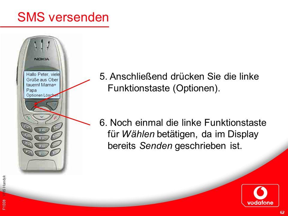 F1008 VHS Handykurs für Einsteiger 62 SMS versenden 5. Anschließend drücken Sie die linke Funktionstaste (Optionen). 6. Noch einmal die linke Funktion