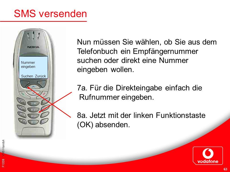 F1008 VHS Handykurs für Einsteiger 63 SMS versenden Nun müssen Sie wählen, ob Sie aus dem Telefonbuch ein Empfängernummer suchen oder direkt eine Numm