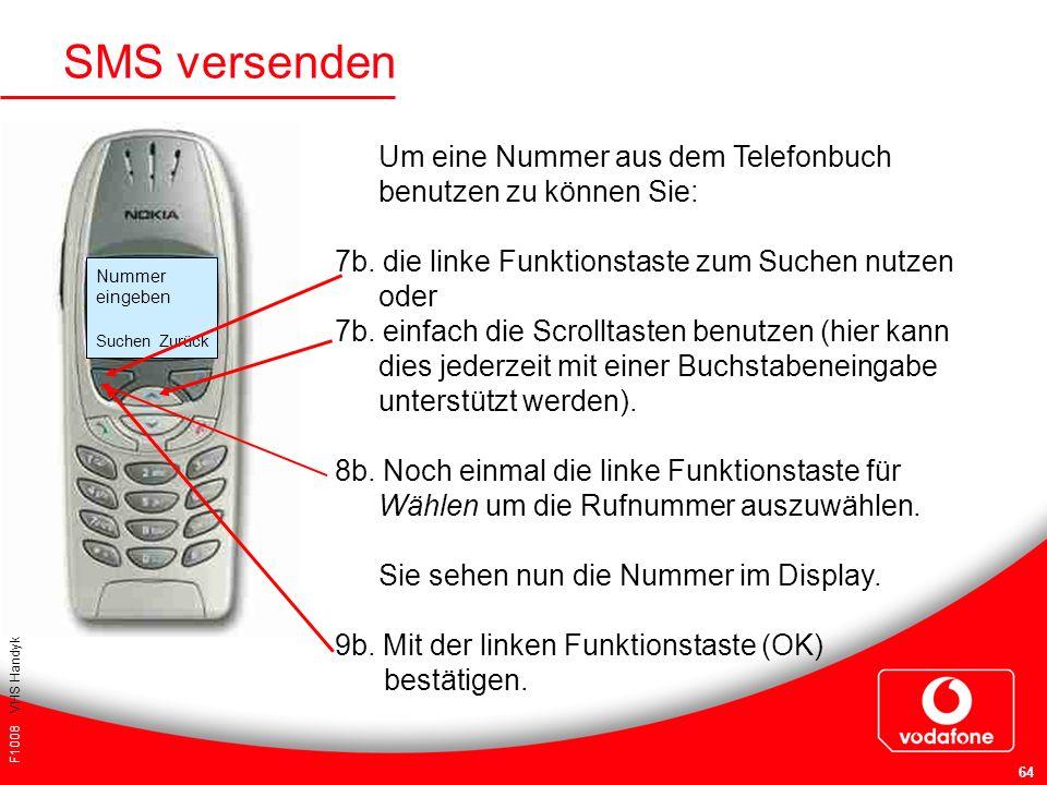 F1008 VHS Handykurs für Einsteiger 64 SMS versenden Um eine Nummer aus dem Telefonbuch benutzen zu können Sie: 7b. die linke Funktionstaste zum Suchen