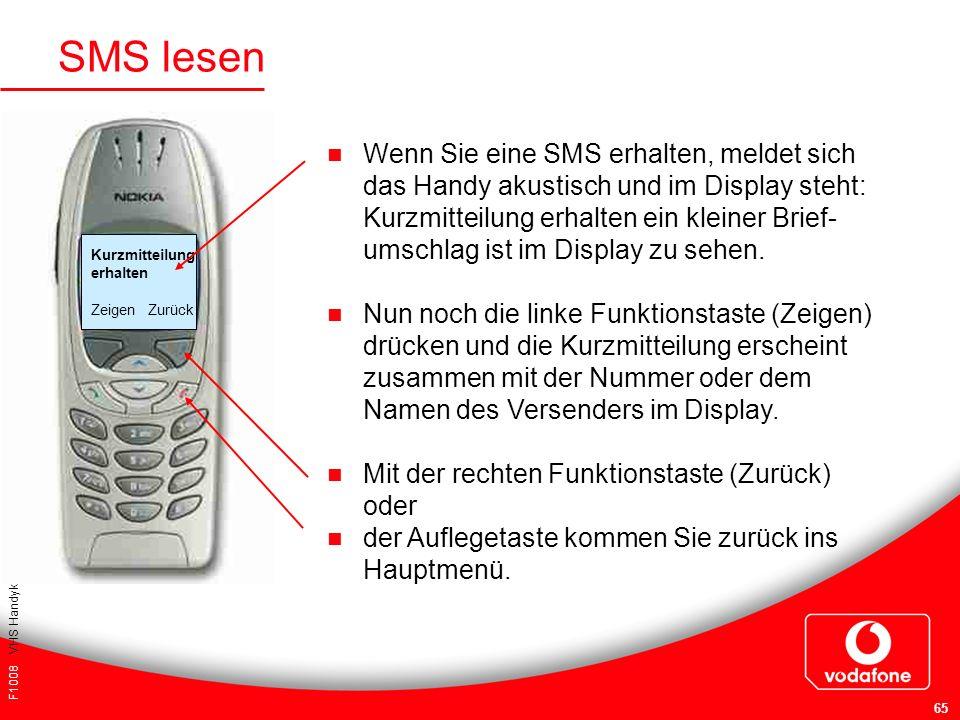 F1008 VHS Handykurs für Einsteiger 65 SMS lesen Wenn Sie eine SMS erhalten, meldet sich das Handy akustisch und im Display steht: Kurzmitteilung erhal